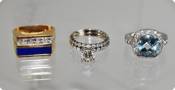 Rings and gemstone jewelry.