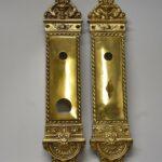 Antique-Heavy-Cast-Brass-Neo-Classical-Entry-Door-Plates-14-Tall-263752111840