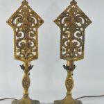 Antique-Pair-Art-Deco-Brass-Scroll-Openwork-Mantle-Buffet-Lamps-193162869140-2