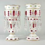Pair-Antique-Victorian-Mantle-Lusters-Bohemian-Cut-To-Cranberry-Hand-Blown-193699260320