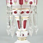 Pair-Antique-Victorian-Mantle-Lusters-Bohemian-Cut-To-Cranberry-Hand-Blown-193699260320-6