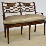Sheraton-Style-Mahogany-Settee-Bench-Inlaid-Bronze-Plaques-264224513280