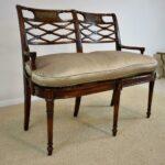 Sheraton-Style-Mahogany-Settee-Bench-Inlaid-Bronze-Plaques-264224513280-4