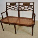 Sheraton-Style-Mahogany-Settee-Bench-Inlaid-Bronze-Plaques-264224513280-5