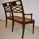 Sheraton-Style-Mahogany-Settee-Bench-Inlaid-Bronze-Plaques-264224513280-7