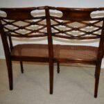 Sheraton-Style-Mahogany-Settee-Bench-Inlaid-Bronze-Plaques-264224513280-8