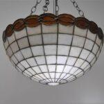 VINTAGE-LEADED-GLASS-CHANDELIER-LIGHT-FIXTURE-AMBER-CREAM-191496202490-2