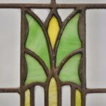 ARTS-CRAFTS-PRAIRIE-SCHOOL-STAINED-GLASS-WINDOW-GREEN-YELLOW-ORANGE-CLEAR-192277417831-4