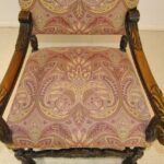 Antique-French-Renaissance-Revival-Style-Carved-Walnut-Armchair-Tapestry-Fabric-264656153151-10