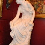 Antique-Italian-Hand-Carved-Marble-Statue-of-Graceful-Lady-Sitting-33-Tall-264931698521