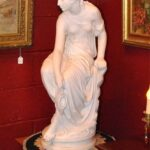 Antique-Italian-Hand-Carved-Marble-Statue-of-Graceful-Lady-Sitting-33-Tall-264931698521-2