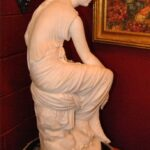 Antique-Italian-Hand-Carved-Marble-Statue-of-Graceful-Lady-Sitting-33-Tall-264931698521-3