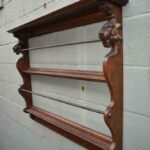 Antique-Oak-Plate-Rack-Carved-Lion-Heads-Brass-Cup-Hooks-Circa-1890s-194020042201-2