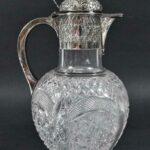 Antique-Silver-Plate-Cut-Glass-Pitcher-Claret-Carafe-193938073601