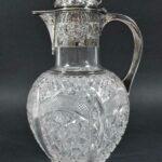 Antique-Silver-Plate-Cut-Glass-Pitcher-Claret-Carafe-193938073601-2