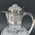 Antique-Silver-Plate-Cut-Glass-Pitcher-Claret-Carafe-193938073601-3