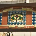 Antique-Victorian-Leaded-Slag-Glass-Stained-Arched-Window-Rondels-193964483931