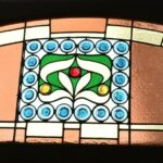 Antique-Victorian-Leaded-Slag-Glass-Stained-Arched-Window-Rondels-193964483931-2