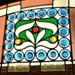 Antique-Victorian-Leaded-Slag-Glass-Stained-Arched-Window-Rondels-193964483931-3