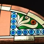 Antique-Victorian-Leaded-Slag-Glass-Stained-Arched-Window-Rondels-193964483931-4