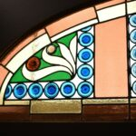 Antique-Victorian-Leaded-Slag-Glass-Stained-Arched-Window-Rondels-193964483931-5
