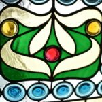Antique-Victorian-Leaded-Slag-Glass-Stained-Arched-Window-Rondels-193964483931-6