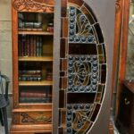Antique-Victorian-Leaded-Slag-Glass-Stained-Arched-Window-Rondels-193964483931-8