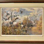 Landing-Ducks-Wetlands-Scene-by-Harry-Curieux-Adamson-1980s-Print-264630003431