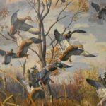 Landing-Ducks-Wetlands-Scene-by-Harry-Curieux-Adamson-1980s-Print-264630003431-4
