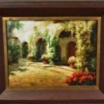 Large-Original-Oil-Painting-On-Canvas-Signed-Garden-Villa-Scene-193711956781
