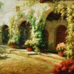 Large-Original-Oil-Painting-On-Canvas-Signed-Garden-Villa-Scene-193711956781-2
