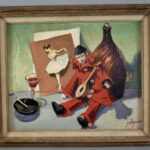 ORIGINAL-OIL-ON-BOARD-BY-JOHN-SWALLEY-1887-1976-TOLEDO-OH-ARTIST-CLOWN-BALLERINA-192265455911