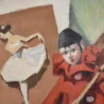 ORIGINAL-OIL-ON-BOARD-BY-JOHN-SWALLEY-1887-1976-TOLEDO-OH-ARTIST-CLOWN-BALLERINA-192265455911-2