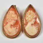 Teardrop-Shape-14k-Yellow-Gold-Shell-Cameo-Pierced-Earrings-194226609891