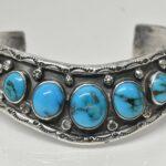 Vintage-Sterling-Silver-Turquoise-Cuff-Bracelet-48-Grams-194267715021