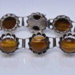 Vintage-Tiger-Eye-Set-Necklace-Bracelet-Screw-Earrings-Silver-192899841161-4