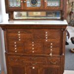 Antique-Quarter-Sawn-Oak-Dental-Cabinet-Leaded-Glass-Doors-194247948232