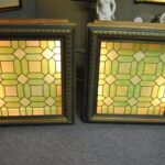 Antique-Stained-Glass-Window-in-Greens-Yellows-Back-Lit-Wall-Mount-42-x-43-191534323842