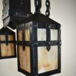 Arts-Crafts-Gothic-Revival-Hammered-Iron-Chandelier-Granite-Back-Glass-194059931672-4