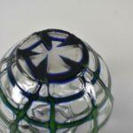Kralik-Art-Glass-Czech-Vase-Clear-With-Green-And-Blue-Lattice-Design-193726380822-3