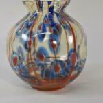 Kralik-Uranium-Art-Glass-Vase-Blue-Red-Designs-Pinched-Sides-193444667162
