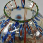 Kralik-Uranium-Art-Glass-Vase-Blue-Red-Designs-Pinched-Sides-193444667162-3
