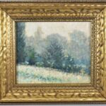 Original-19th-Century-Winter-Woodland-Scene-On-Board-Unsigned-Greens-Blues-193340802392