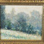 Original-19th-Century-Winter-Woodland-Scene-On-Board-Unsigned-Greens-Blues-193340802392-2