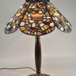 Antique-Leaded-Stained-Chunk-Jewels-Glass-Lamp-Shade-Only-193837231723