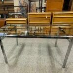 Chrome-Glass-Mid-Century-Dining-Table-193980127133