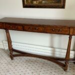 Figured-Walnut-Console-Table-Carved-Dual-Stretchers-265122702013