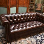 Hancock-Moore-Vintage-Tufted-Leather-Chesterfield-Sofa-Nail-Head-Trim-265207849223