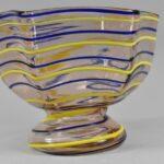 Kralik-Czech-Art-Glass-Footed-Bowl-Blush-with-Blue-Yellow-Threading-264914718753