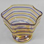 Kralik-Czech-Art-Glass-Footed-Bowl-Blush-with-Blue-Yellow-Threading-264914718753-2